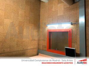 Sala insonorizada. Universidad Complutense de Madrid.